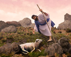 Jesus finding lost sheep